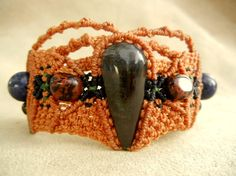 SALE 11 off Obsidian Bracelet in Sunset Micro Macrame by Elquino, $99.00