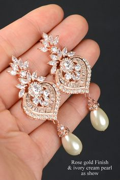 Chandelier Wedding Earrings,rose gold Crystal Bridal Earrings,Vintage style, Statement Bridal earrings necklace bracelet ,Wedding jewelry -LILY