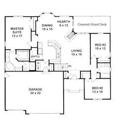 Mediterranean Style House Plan - 3 Beds 2 Baths 1651 Sq/Ft Plan #58-214 Floor Plan - Main Floor Plan - Houseplans.com