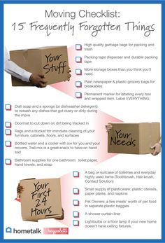 "Moving? Stay positive and take any hitches in stride. There is no such thing as a ""perfect move!  But you can avoid a lot of trouble with this fabulous Moving Checklist for Frequently Forgotten Things. Moving List, Moving Home, Moving Day, Moving Hacks, Moving House Tips, Unpacking After Moving, Unpacking Tips, Move On Up, Big Move"