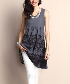 Look what I found on #zulily! Gray Lace-Print Sleeveless Empire-Waist Tunic Dress #zulilyfinds