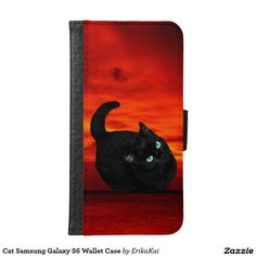 Black Cat and Red Sky Wallet Case for Samsung Galaxy S4, S5 or S6