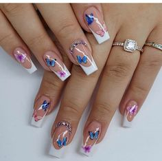 Bling Acrylic Nails, Acrylic Nails Coffin Short, Square Acrylic Nails, Best Acrylic Nails, Gel Nails, Fancy Nails Designs, Cute Acrylic Nail Designs, Ombre Nail Designs, Butterfly Nail Designs