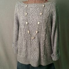 Rebecca Malone Grey Sweater Nice grey sweater with cute cuff and button sleeves. Necklace not included.   Size XL. Rebecca Malone Tops
