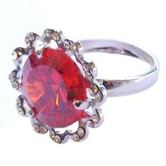 Silver sunflower shape ring with red crystal  http://enewmall.com/women-rings/