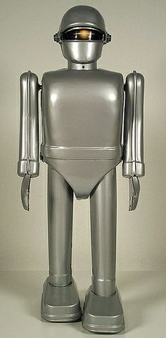 Gort tin wind-up toy - visor open