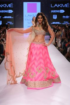 Bollywood actress and showstopper Ileana D'Cruz in pink chevron lengha by Anushree Reddy