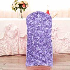 Purple Wedding, Our Wedding, Chic Wedding, Wedding Reception, Rosette Tablecloth, Spandex Chair Covers, Lavender Wedding Decorations, Wedding Chairs, Wedding Table Settings