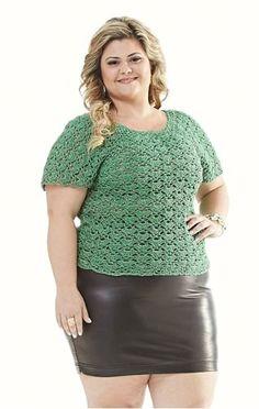Receitas Círculo - Plus Size - Blusa Verde com Brilho Prata