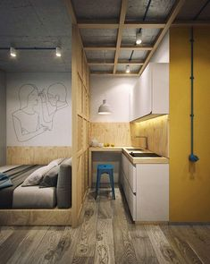 Trendy Ideas for living room designs small spaces loft Small Apartment Interior, Small Apartment Design, Condo Design, Studio Apartment Decorating, Apartment Layout, House Design, Apartments Decorating, Decorating Bedrooms, Design Art
