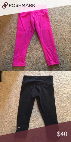 Reversible crop lulu leggings Lulu Lemon cropped leggings, barely worn. Neon pink that reverses and is black with a pink under tone. Perfect for running, yoga, any exercise or lounge pants! lululemon athletica Pants