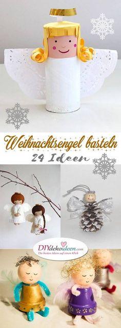 Tinker magical little Christmas angels - over 20 DIY craft ideas - Basteln mit Mathilda - fun craft Little Christmas, Christmas Angels, Christmas Fun, Christmas Ornaments, Cool Paper Crafts, Fun Crafts, Crafts For Kids, Holiday Crafts, Holiday Decor