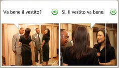 """IS THE DRESS OK?"" ""YES. THE DRESS IS OK.""  For the love of God, get out of her dressing room! You are way too close to her.  The funniest stock images from Rosetta Stone - MWL #languagelearning #Italian #funny"