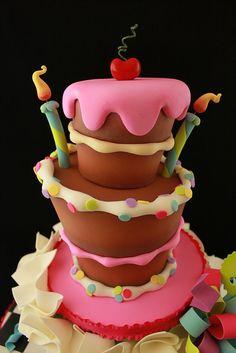 Wonky Birthday cake | Flickr: Intercambio de fotos Crazy Cakes, Fancy Cakes, Fiesta Party, Konditor, Cake Wrecks, Unique Cakes, Creative Cakes, Tarte, Girl Cakes