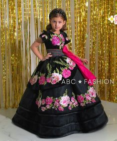Girls Formal Dresses, Flower Girl Dresses, Floral Applique Dress, Floral Embroidery, Lace Applique, Lace Sleeves, Dresses With Sleeves, Vestido Charro, Mary's Bridal