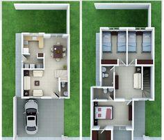 Planos de Casas y Plantas Arquitectónicas de Casas y Departamentos: Plano arquitectónico de casa de dos plantas y 3 dormitorios
