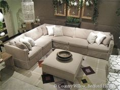 Sectional comes in many configurations, matching sofas and chairs. Over 1000 fabrics- Country Willow Furniture