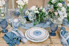 Blue Wedding Flowers Shades of blue wedding reception decor Blue Wedding Receptions, Wedding Reception Flowers, Wedding Reception Decorations, Wedding Themes, Wedding Table, Wedding Venues, Decor Wedding, Blue Wedding Centerpieces, Quinceanera Centerpieces