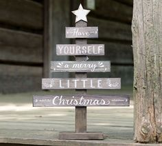 "Natural wood slat Christmas tree décor with hand-painted white distressed star and ""Have yourself a Merry little Christmas"" message. 18""H X 12 3/4""W X 3 1/2""D #outdoorchristmasdecor"