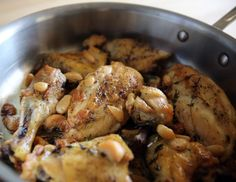 Alton Brown's 40 Cloves and a Chicken Recipe: When 40 cloves of garlic are cooked into the dish the result is a smooth, sweet, earthy flavor and an aroma that wraps the kitchen like a hug. Make sure y Clove Garlic Chicken) 40 Clove Garlic Chicken, Garlic Chicken Recipes, Turkey Recipes, Dinner Recipes, Restaurant Recipes, Food Network Recipes, Cooking Recipes, Brown Recipe, Chicken