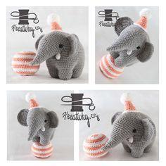 český návod na háčkovaného slona Knit Crochet, Crochet Hats, Crochet Ideas, Spongebob, Dinosaur Stuffed Animal, Knitting, Toys, Baby, Handmade