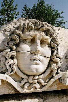 Gorgon, ancient Didyma, Turkey - classical Greek, 5th C. BC. The great temple here was destroyed by the Persians in 494 during Greece's Persian War.Tempio di Apollo A Didima Turchia
