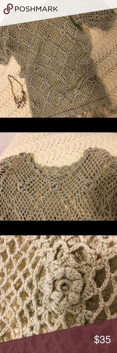 Hand made crochet top. Vintage dusty green, long and slim 100% cotton crochet top. Feature - fun baubles line the hem! Bought at upscale outdoor market in London. Hate to let it go but alas...too small now...call it size 8 or 10. Tops
