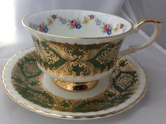 Paragon English Fine Bone China Deep Green Vintage Teacup & Saucer Set - Gold and Green Brocade acanthus leaf pattern with wild flowers - on Etsy, $18.00