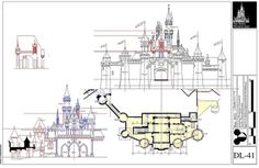 Enfilm's Disney Blueprints, Drawn by an architect who is a Disney Fan some are not completely accurate but still fun to look at! Disneyland Paris, Disneyland Castle, Vintage Disneyland, Disneyland Rides, Old Disney, Disney Love, Disney Art, Walt Disney World, Castle Layout