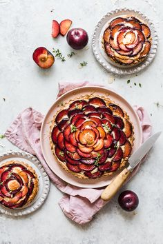 This Plum Frangipane Tart is beauty on a plate. Sweet, flaky pastry filled with smooth almond frangipane and topped with sliced plums, it tastes divine too.