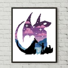 How to train your dragon counted cross stitch pattern silhouette disney galaxy mountains - Cross Sti Dragon Cross Stitch, Small Cross Stitch, Cross Stitch Kits, Cross Stitch Charts, Modern Cross Stitch Patterns, Counted Cross Stitch Patterns, Cross Stitch Designs, Cross Stitch Embroidery, Pixel Art