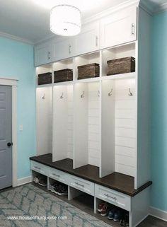 Laundry room organization storage cubbies lockers best Ideas Laundry room organization storageYou c. Cubby Storage, Laundry Room Storage, Bench With Storage, Small Storage, Diy Storage, Locker Storage, Laundry Room Organization, Storage Organization, Wooden Laundry Hamper