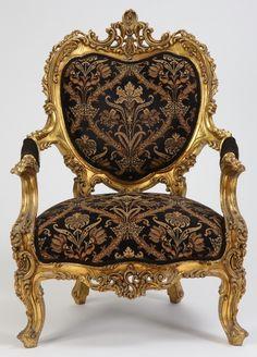 19th c. Italian Rococo giltwood arm chair
