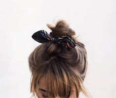 light brunette small topknot | small buns | bangs | scrunchies | hair bands | casual styles