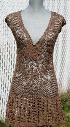 Crochet Dress / Tunic / Cover up Made to Order  in by DearAlina,