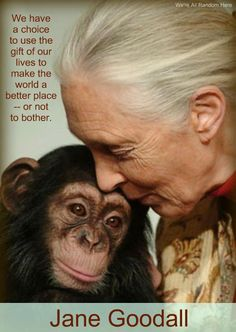 Jane Goodall has done mighty effort & her degree of compassion is self-evident - but, sadly, most people never recognise such inspirational effort.