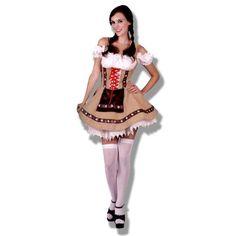 Disfraz Tirolesa Sexy Disfraz precioso de alemana para la fiesta Oktoberfest. Vestido con cremallera en la espalda, mangas cortas elásticas, al igual que el pecho, lazos rojos, pañuelo marrón cosido al vestido y terminado con unas puntillas cosidas de encaje blanco.
