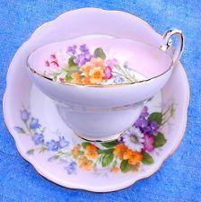 Vintage 1850 EB Foley English Bone China Floral Bouquet Pink Tea Cup & Saucer