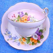 Vintage 1850 EB Foley English Bone China Floral Bouquet Pink Tea Cup & Saucer