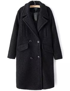 #fashion #accessories Celebrity Double-Breasted Oversize Wool Coat in Solid Color   Black by Moda Tendone - WoolCoat Black, Clothes, Fashionable, Women, WoolCoat