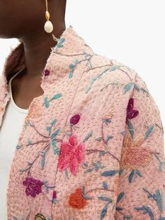 Silk Jacket, Quilted Jacket, Textiles, By Walid, Boro, Diy Vetement, Poncho, Embroidered Silk, Vintage Fabrics