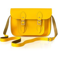 """Official Site Cambridge Satchel Company Yellow 11"""" Classic Satchel ($130) ❤ liked on Polyvore featuring bags, handbags, leather satchel purse, orange leather purse, leather satchel, leather satchel handbags and leather purses"""
