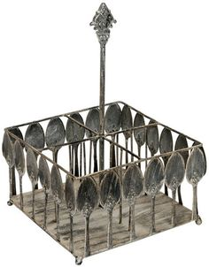 Vintage Inspired Metal Spoon Silverware Caddy from our Paris Kitchen Collection