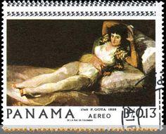 (1967 Panama) GOYA - The Clothed Maja (La Maja Vestida) by Goya.
