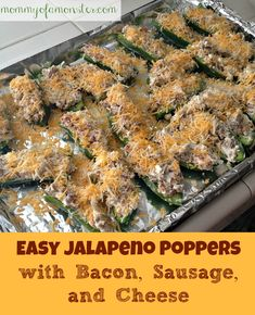 An easy jalapeno poppers recipe with bacon, sausage & cheese. You will never have to stuff whole jalapenos again! Link to Jalapeno Popper Dip too.