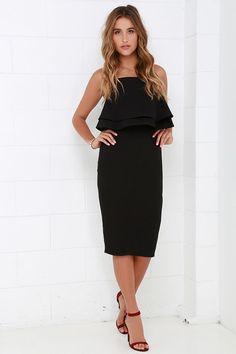 Finders Keepers Move On Up Black Midi Dress at Lulus.com!