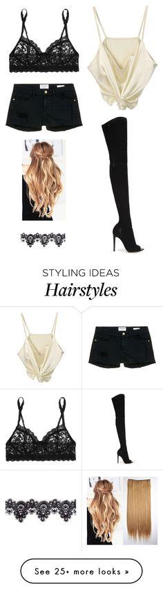 """""""Untitled #2817"""" by twerkinonmaz on Polyvore featuring Hanky Panky, Frame Denim, Gianvito Rossi and Akira"""