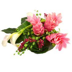 Centres de table , collection Zo'e. 2 centres de table aux fleurs exotiques, alpinias, callas et poivre, pour un mariage exotique. Fleurs Lointaines