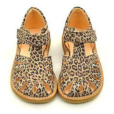 - Angulus lukket sandal leopard,  Bred model! Str 30