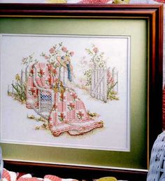 """""""Peony Paradise ~ Quilts From The Garden"""" a cross stitch pattern by Paula Vaughan."""